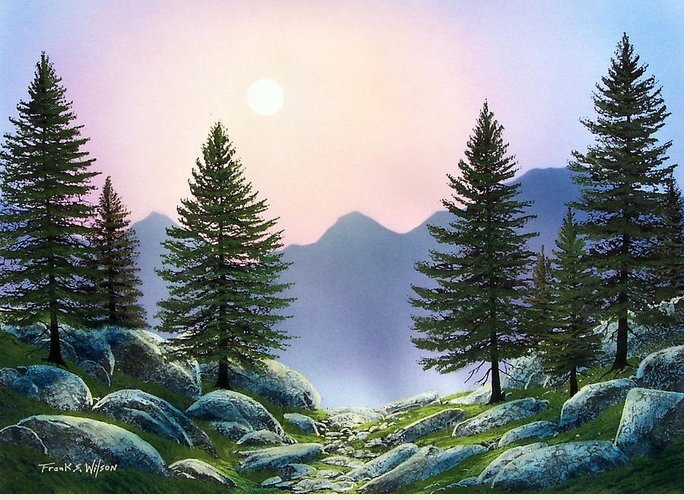 Landscape Greeting Card featuring the painting Mountain Firs by Frank Wilson