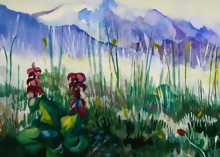Mountains Greeting Card featuring the painting Mountain Flowers by Anastasia Michaels