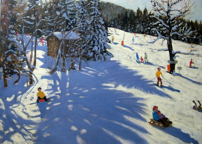 Sledging Greeting Card featuring the painting Mountain Hut by Andrew Macara