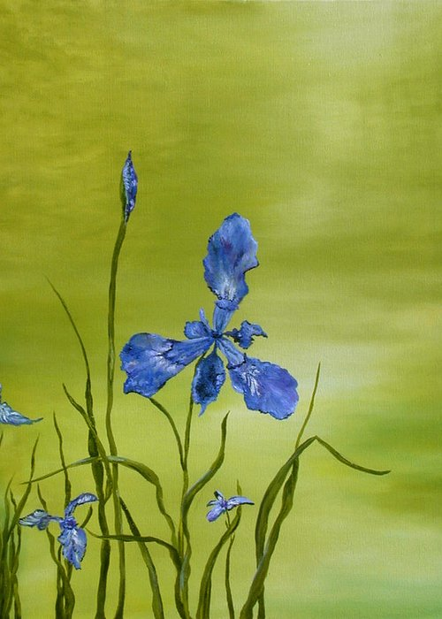 Floral Greeting Card featuring the painting Mountain Iris by SheRok Williams