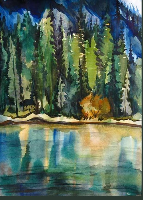 Landscape Greeting Card featuring the painting Mountain Lake by Anna Duyunova