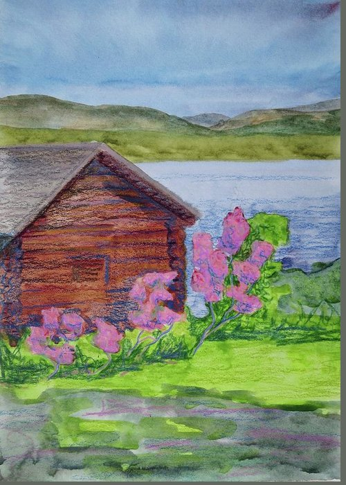 Great Sacandage Lake Greeting Card featuring the painting Mountain Laurel By The Cabin by Bethany Lee