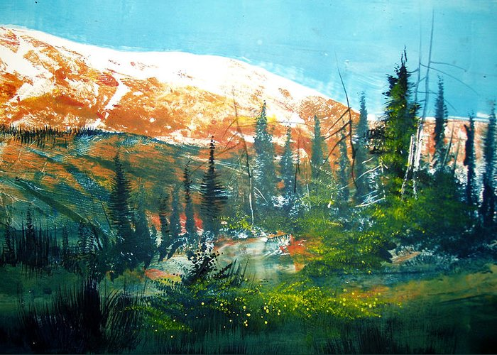 Landscape Greeting Card featuring the mixed media Mountain Light by Robert Carver
