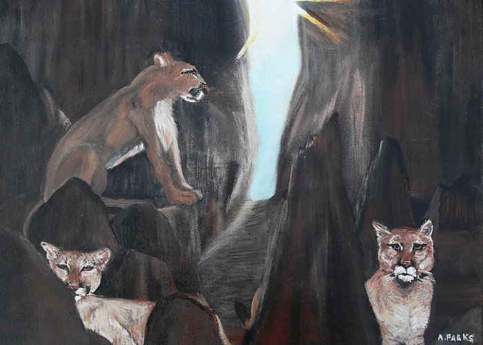 Mountain Lions Greeting Card featuring the painting Mountain Lion Morning by Aleta Parks