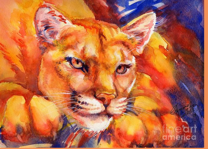 Mountain Lion Greeting Card featuring the painting Mountain Lion Red-yellow-blue by Summer Celeste