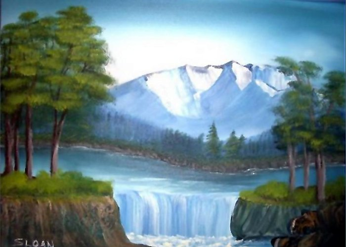 Landscape Greeting Card featuring the painting Mountain Majesty by Ervin Sloan
