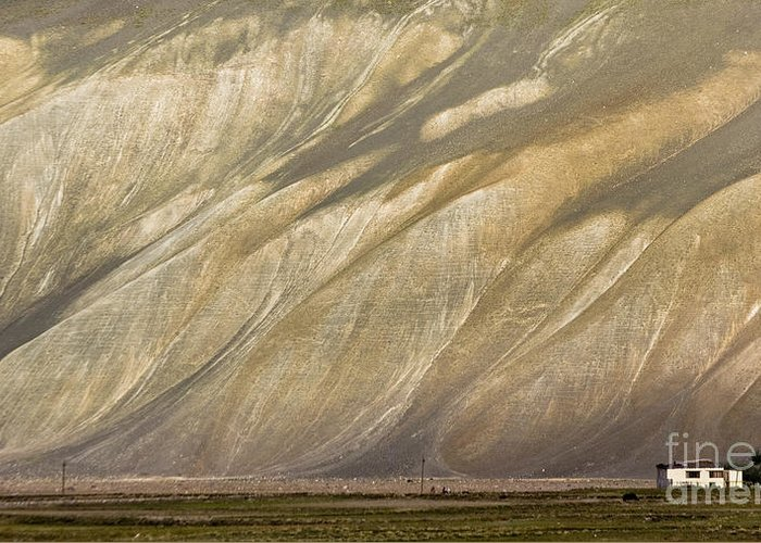 Mountain Greeting Card featuring the photograph Mountain Patterns, Padum, 2006 by Hitendra SINKAR