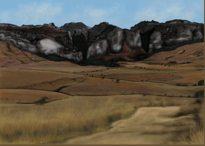 Digital Greeting Card featuring the painting Mountain Plains by Steven Powers SMP