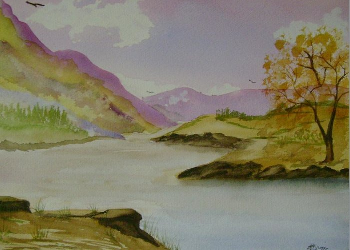 Mountains Greeting Card featuring the painting Mountain River by Dottie Briggs