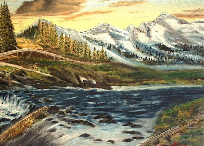 Landscape Greeting Card featuring the painting Mountain River by Kenneth LePoidevin