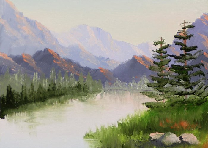 Mountain river overture landscape oil painting by northern landscape greeting card featuring the painting mountain river overture landscape oil painting by northern california artist m4hsunfo