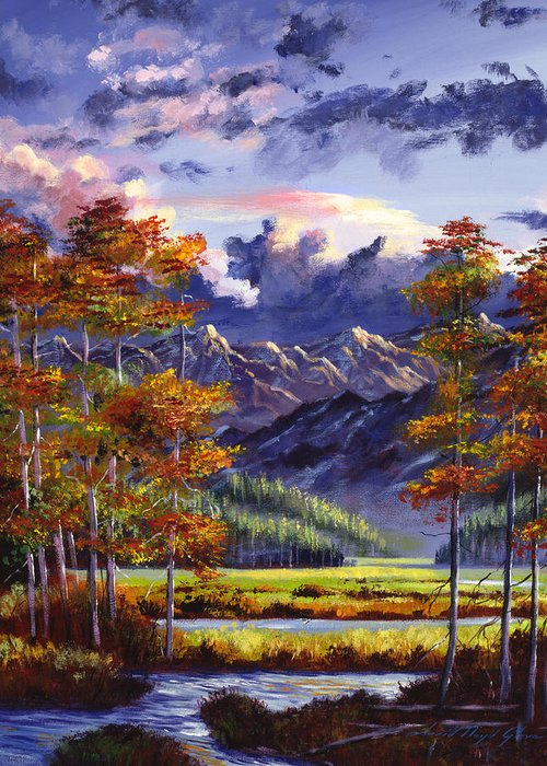 Mountains Greeting Card featuring the painting Mountain River Valley by David Lloyd Glover