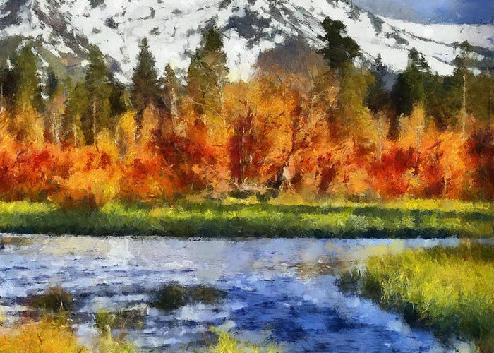 Mountain Greeting Card featuring the painting Mountain by Russ Harris