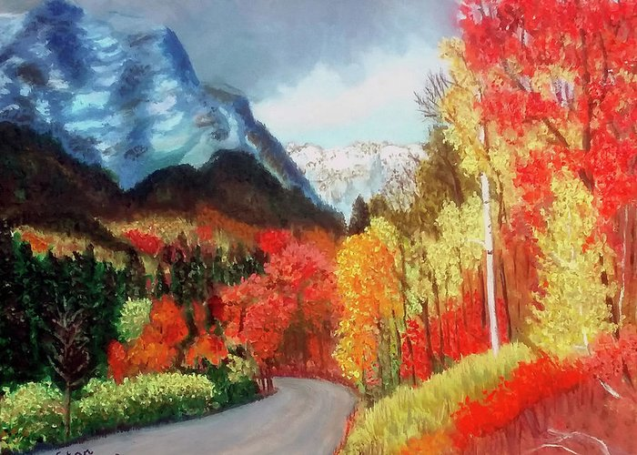 Mountain Greeting Card featuring the painting Mountain Scene by Stan Hamilton