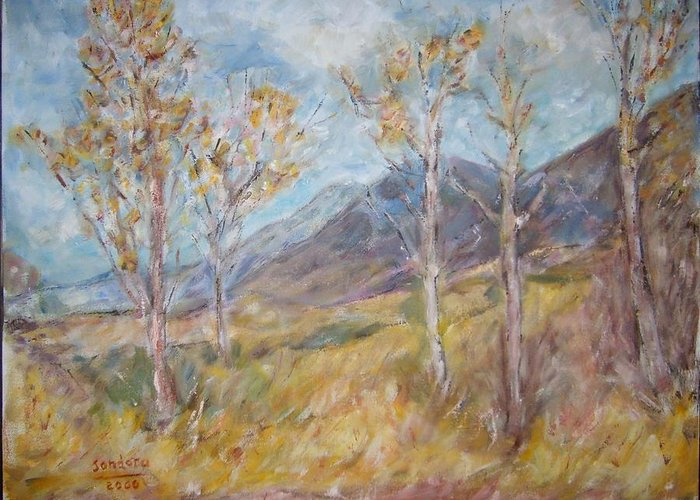 Landscape Greeting Card featuring the painting Mountain Side K by Joseph Sandora Jr