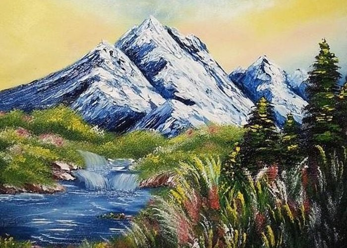 Scenery Greeting Card featuring the painting Mountain Spring by Nadine Westerveld