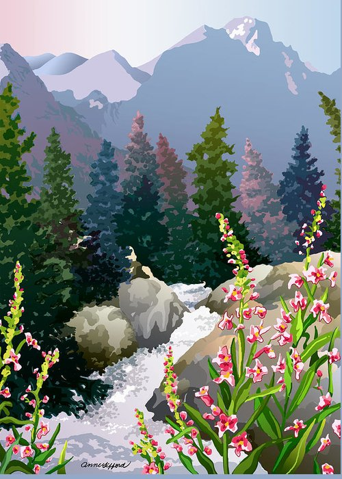 Rocky Mountains Greeting Card featuring the digital art Mountain Stream by Anne Gifford