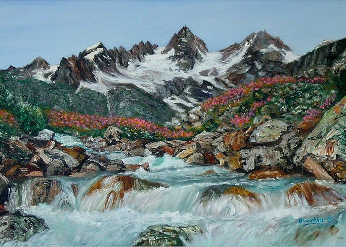 Mountain Greeting Card featuring the painting Mountain Stream by Quwatha Valentine