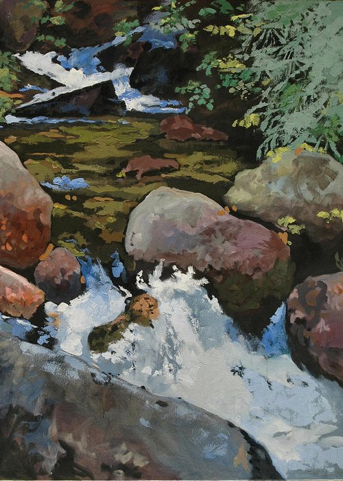 Creek Greeting Card featuring the painting Mountain Stream by Robert Bissett