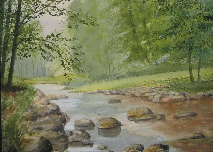 Landscape Greeting Card featuring the painting Mountain Stream by Shirley Braithwaite Hunt