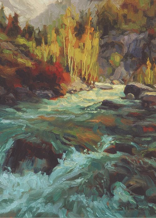 River Greeting Card featuring the painting Mountain Stream by Steve Henderson
