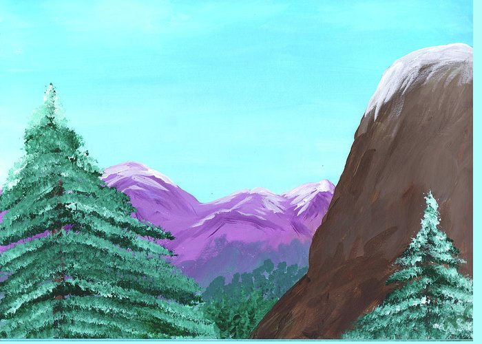 Mountain Greeting Card featuring the painting Mountain View by M Valeriano