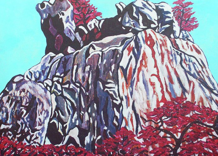 Valentine Magutsa Greeting Card featuring the painting Mountain View by Valentine Magutsa