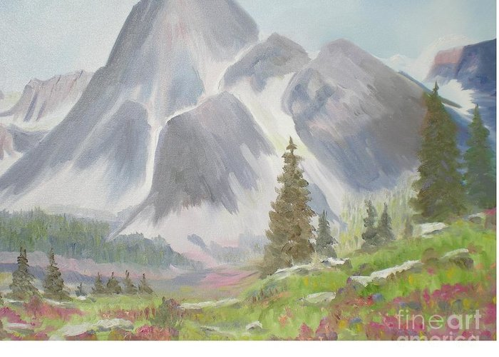 Landscape Greeting Card featuring the painting Mountains And Meadows by Hal Newhouser