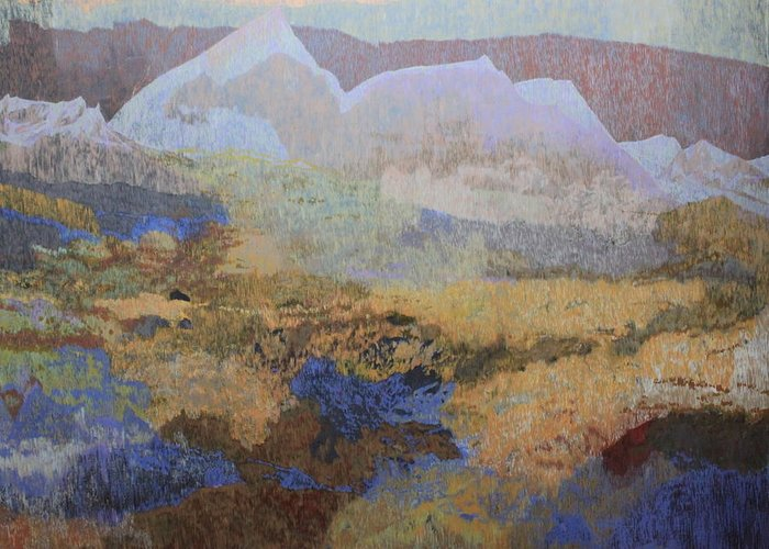 Landscape Greeting Card featuring the painting Mountains by Carolin Mojavari