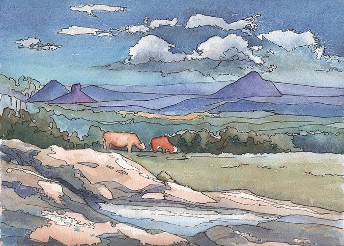 Mountains Greeting Card featuring the painting Mountains From Maleny by Robynne Hardison