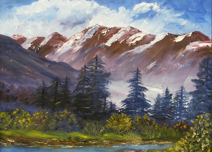 Oil Painting Greeting Card featuring the painting Mountains I by Lessandra Grimley