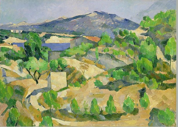 Mountains Greeting Card featuring the painting Mountains In Provence by Paul Cezanne