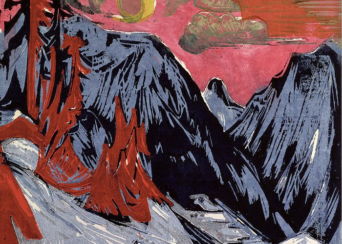 Mountains In Winter Greeting Card featuring the painting Mountains In Winter by Ernst Ludwig Kirchner