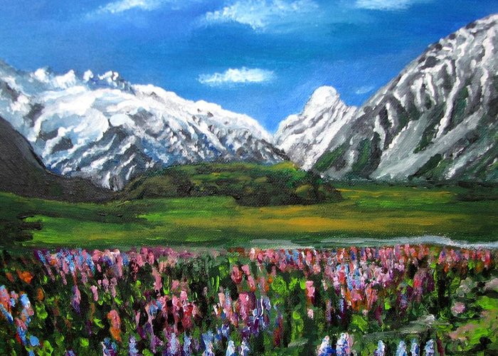 Mountains Landscape Greeting Card featuring the painting Mountains Landscape Acrylic Painting by Natalja Picugina