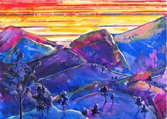Mountains Greeting Card featuring the painting Mountainscape Blue by Rollin Kocsis