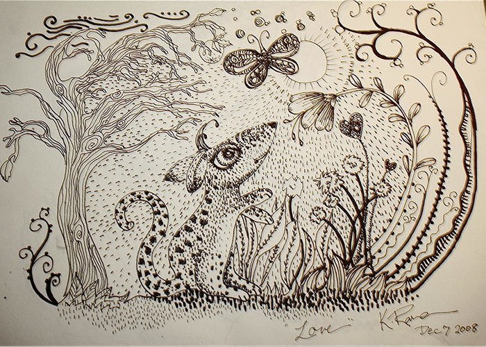 Pen Ink Nature Black White Greeting Card featuring the ceramic art Mouse by Kathleen Raven