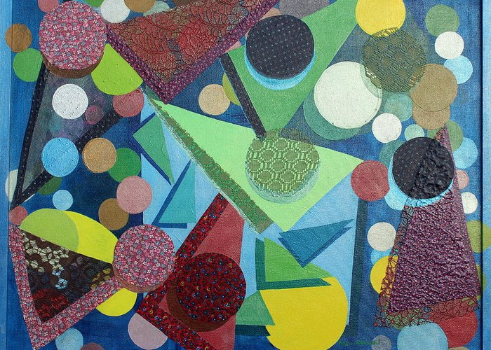 Abstract Greeting Card featuring the painting Movement by Naomi Gerrard