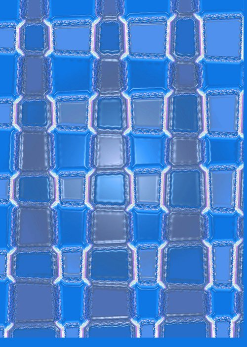 Moveonart! Digital Gallery Greeting Card featuring the digital art Moveonart Blue Bricks by Jacob Kanduch