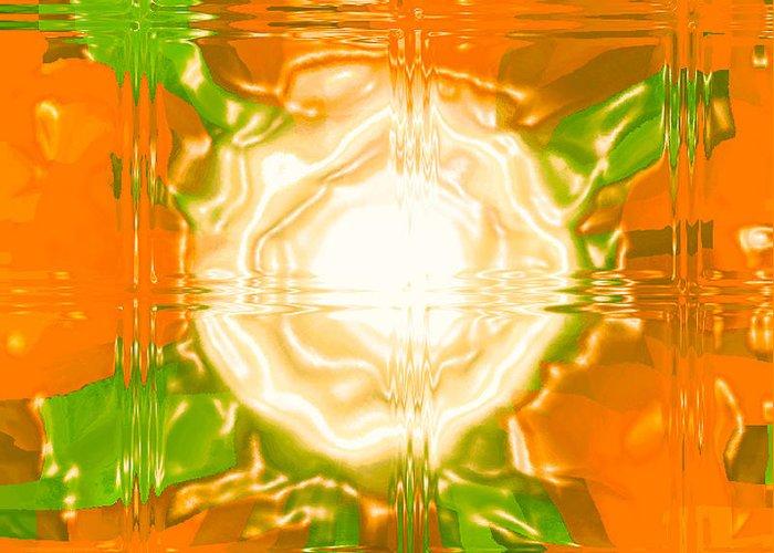 Moveonart! Digital Gallery Greeting Card featuring the digital art Moveonart Joy With Light In Orange by Jacob Kanduch