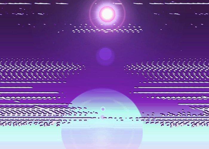 Moveonart! Digital Gallery Greeting Card featuring the digital art Moveonart Violet Light Of Charitable Consciousness by Jacob Kanduch