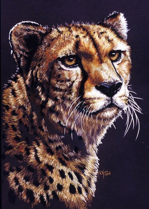 Cheetah Greeting Card featuring the drawing Movin On by Barbara Keith