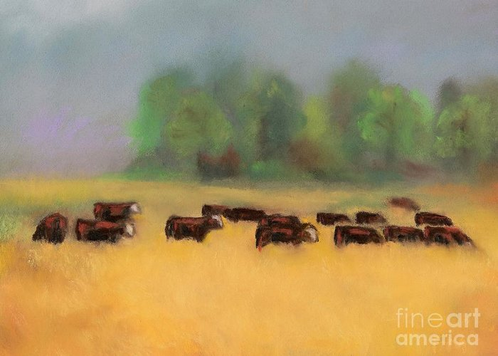 Cattle Greeting Card featuring the painting Moving On by Frances Marino