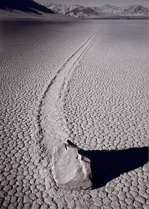 California Greeting Card featuring the photograph Moving Rocks Number 2 Death Valley Bw by Steve Gadomski