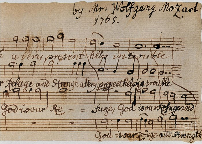1765 Greeting Card featuring the photograph Mozart: Motet Manuscript by Granger