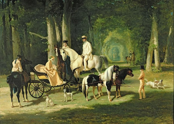 And Greeting Card featuring the painting Mr And Mrs A Mosselman And Their Two Daughters by Alfred Dedreux