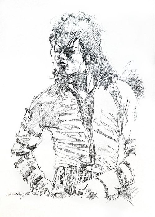Michael Jackson Greeting Card featuring the drawing Mr. Jackson by David Lloyd Glover