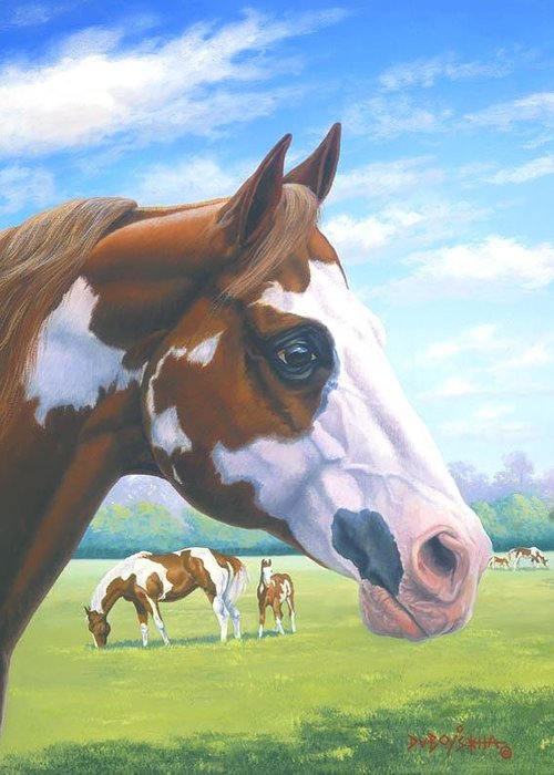 Paint Horse Greeting Card featuring the painting Mr. Norfleets Legacy by Howard Dubois