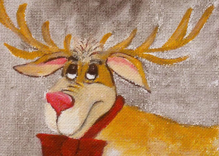 Animals Greeting Card featuring the painting Mr Reindeer by Ruth Palmer