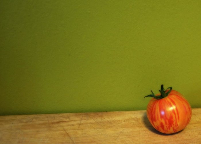 Tomato Greeting Card featuring the photograph Mr. Stripey by Michelle Calkins