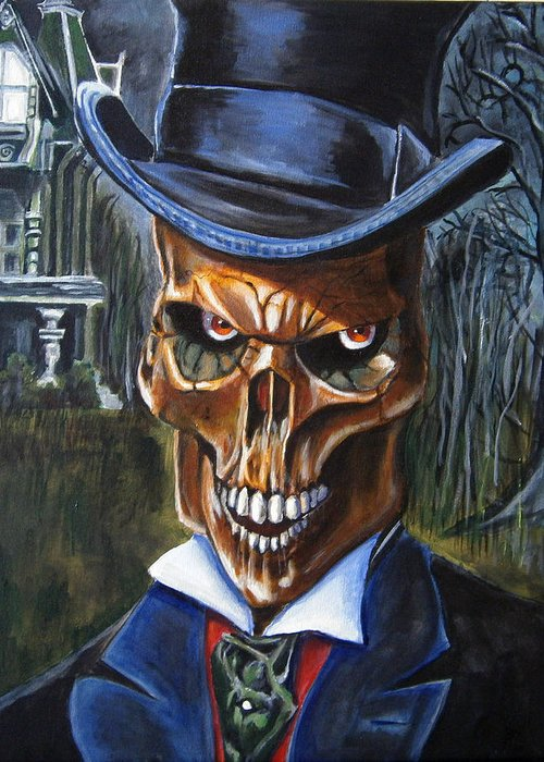Skull Greeting Card featuring the painting Mr. Styx by Chris Benice